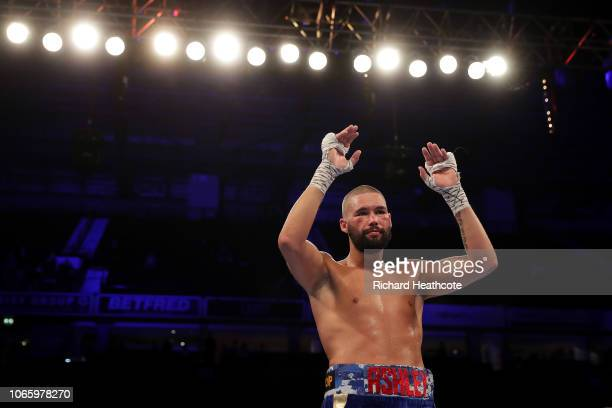 Tony Bellew of England waves to the fans after the WBC, WBA, WBO, IBF & Ring Magazine World Cruiserweight Title Fight between Oleksandr Usyk and Tony...