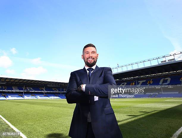 Tony Bellew poses for photographers at Goodison Park on May 3 2016 in Liverpool England Bellew will fight Ilunga Makabu for the vacant WBC World...