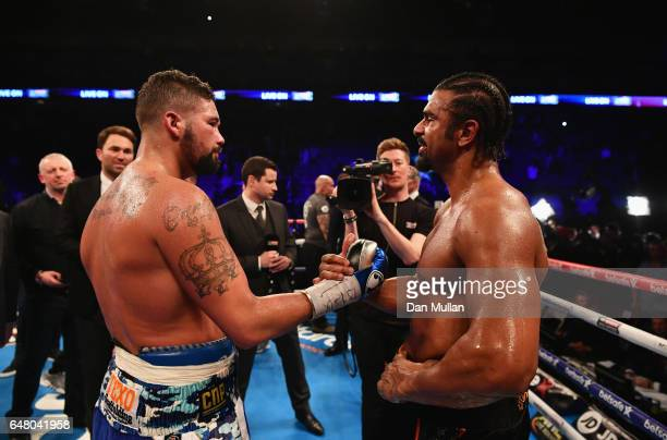 Tony Bellew shakes hands with David Haye after his 11th round TKO victory after their Heavyweight contest at The O2 Arena on March 4 2017 in London...