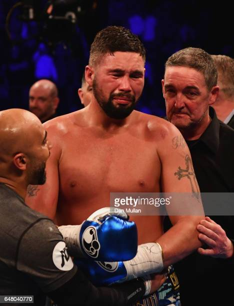 Tony Bellew shows his emotions after an 11th round TKO victory over David Haye after their Heavyweight contest at The O2 Arena on March 4 2017 in...