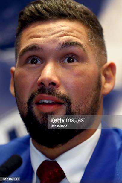Tony Bellew speaks to the media during a press conference at the Park Plaza Hotel on October 4 2017 in London England Haye and Bellew will face each...