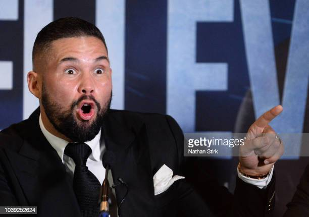 Tony Bellew speaks to the media during the Oleksandr Usyk and Tony Bellew press conference at the Radisson Blu Edwardian Hotel on September 24 2018...