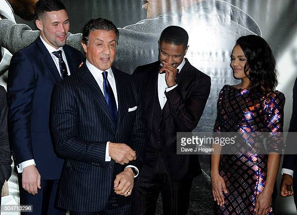 Tony Bellew Sylvester Stallone Michael B Jordan and Tessa Thompson attend the European Premiere of 'Creed' on January 12 2016 in London England