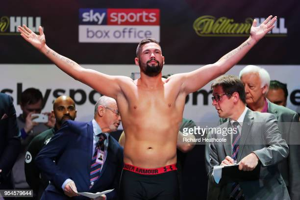 Tony Bellew weighs in during the Weigh in ahead of the Heavyweight fight between Tony Bellew and David Haye at O2 Indigo on May 4, 2018 in London,...