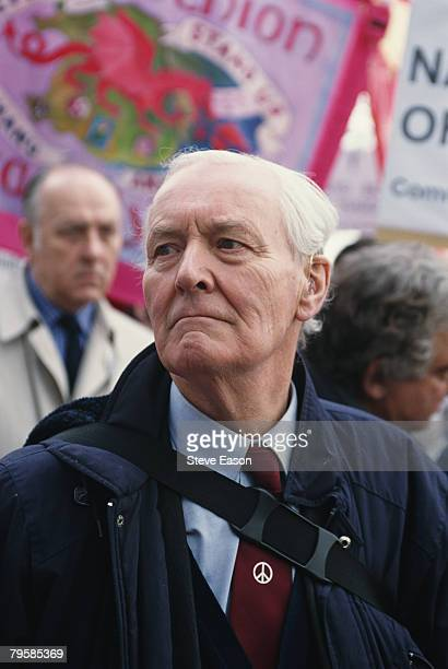 Tony Benn at a demonstration to protest against NATO's bombing of Yugoslavia during Operation Allied Force 11th April 1999