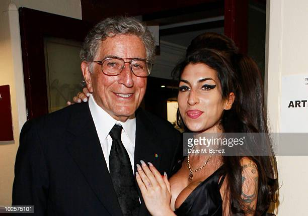 Tony Bennett and Amy Winehouse attend the after show party for Tony Bennett's concert at Royal Albert Hall on July 1 2010 in London England