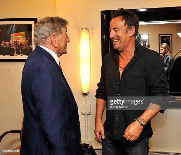 """Tony Bennett and Bruce Springsteen backstage at """"Stand Up for Heroes"""" at the Beacon Theatre on November 3, 2010 in New York City."""