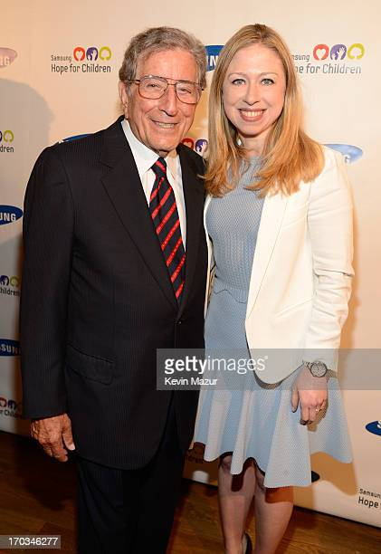 Tony Bennett and Chelsea Clinton attend the Samsung's Annual Hope for Children Gala at CiprianiÕs in Wall Street on June 11 2013 in New York City