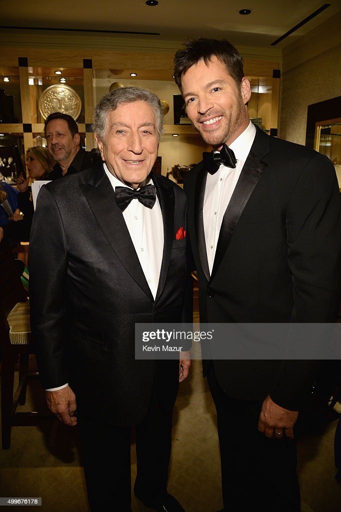 Tony Bennett and Harry Connick Jr. pose backstage during 'Sinatra 100: An All-Star GRAMMY Concert' celebrating the late Frank Sinatra's 100th birthday at the Encore Theater at Wynn Las Vegas on December 2, 2015 in Las Vegas, Nevada. The show will air on CBS on December 6.