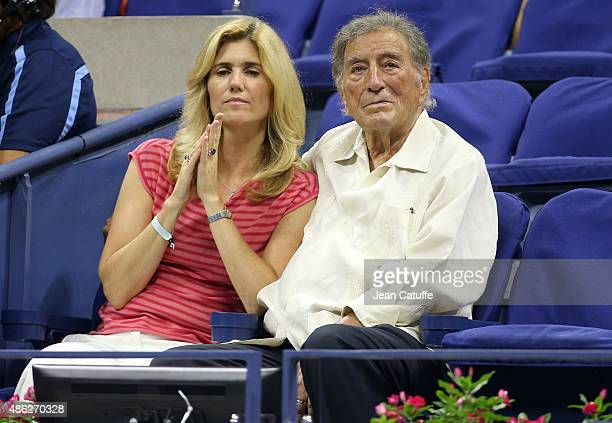 Tony Bennett and his wife Susan Crow attend day three of the 2015 US Open at USTA Billie Jean King National Tennis Center on September 2 2015 in the...