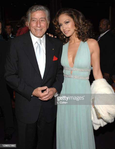 Tony Bennett and Jennifer Lopez during Singers and Songs Celebrate Tony Bennett's 80th to Benefit Paul Newman's Hole in the Wall Camps - Backstage...