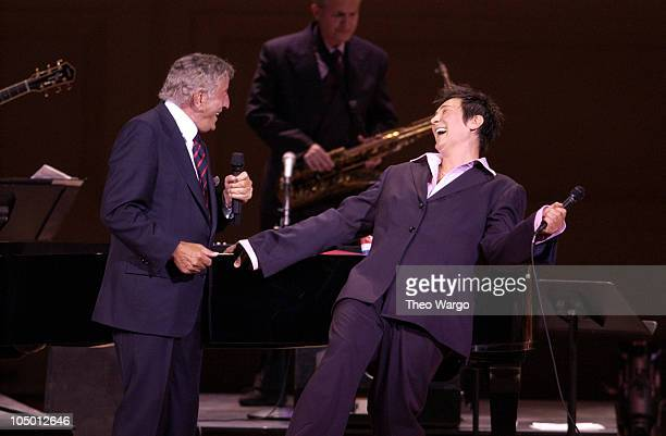 Tony Bennett and kd lang during Tony Bennett Performs with kd lang at Carnegie Hall at Carnegie Hall in New York City New York United States