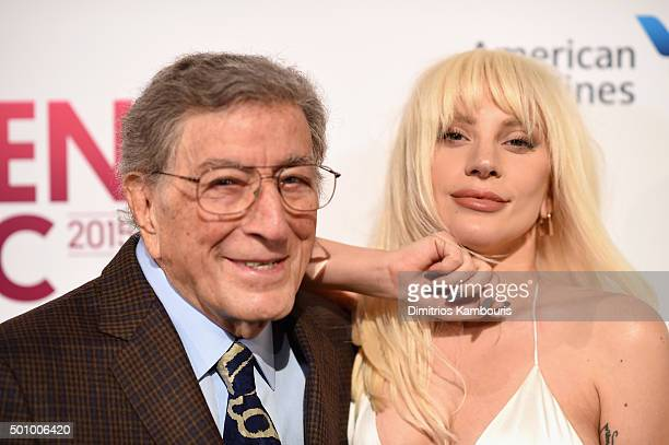 Tony Bennett and Lady Gaga attend Billboard Women In Music 2015 at Cipriani 42nd Street on December 11 2015 in New York City