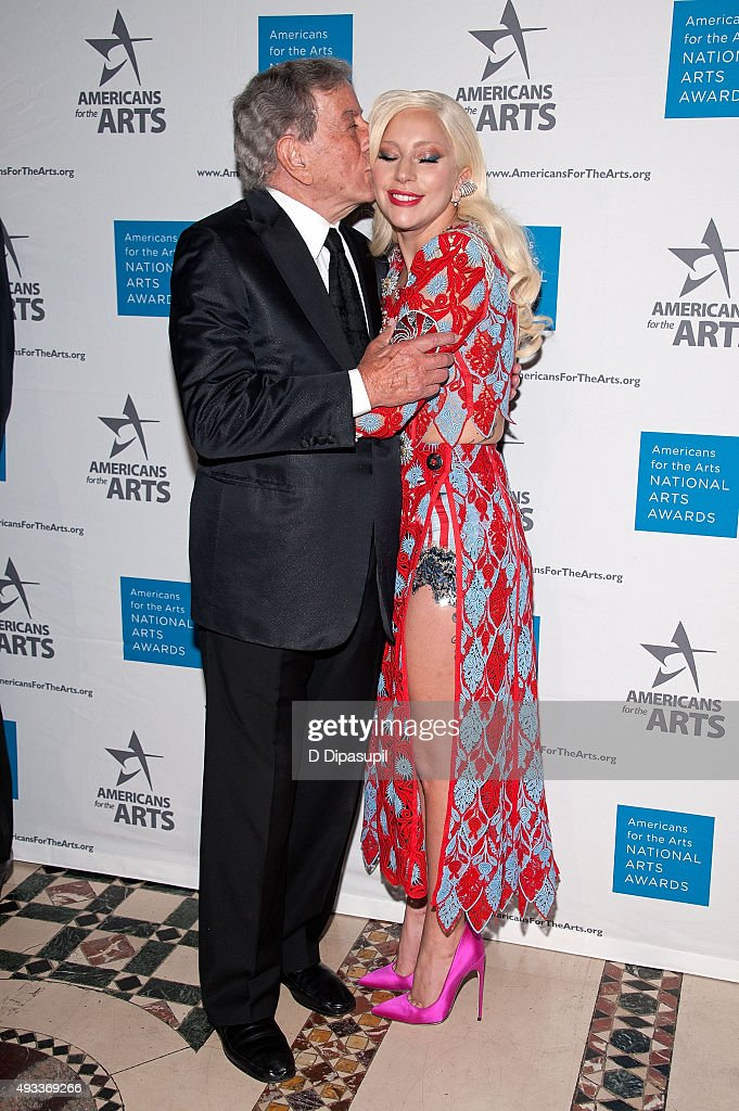 Tony Bennett (L) and Lady Gaga attend the 2015 National Arts Awards at Cipriani 42nd Street on October 19, 2015 in New York City.
