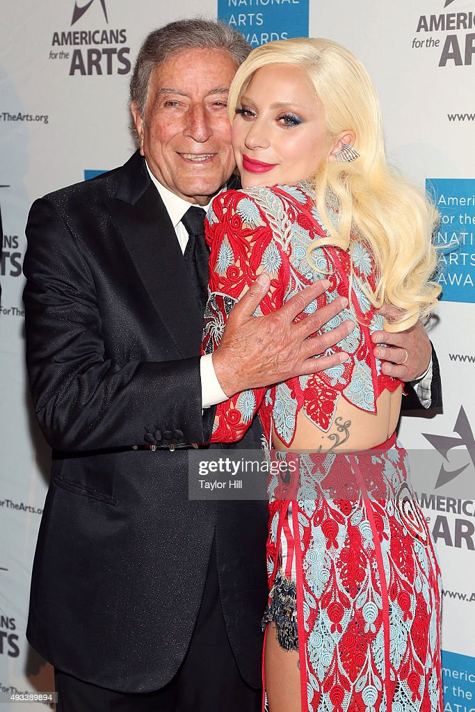 Tony Bennett and Lady Gaga attend the 2015 National Arts Awards at Cipriani 42nd Street on October 19, 2015 in New York City.