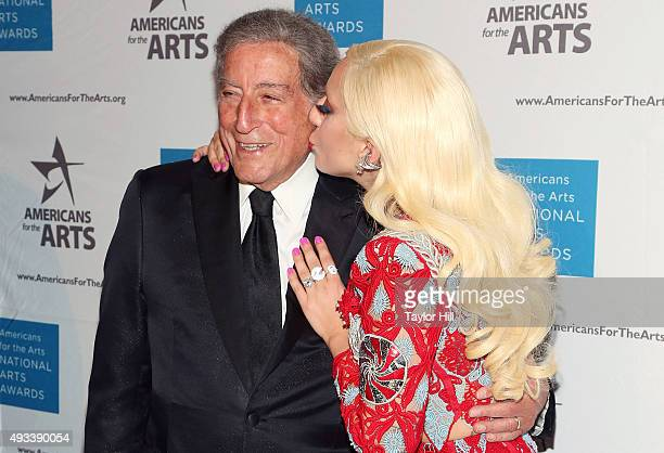 Tony Bennett and Lady Gaga attend the 2015 National Arts Awards at Cipriani 42nd Street on October 19 2015 in New York City