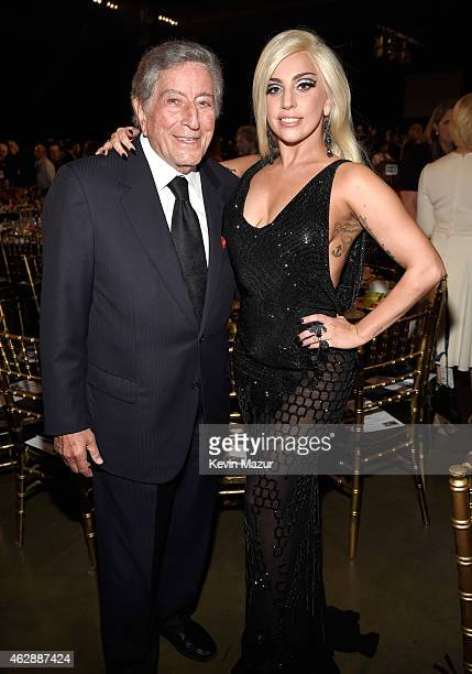 Tony Bennett and Lady Gaga attend the 25th anniversary MusiCares 2015 Person Of The Year Gala honoring Bob Dylan at the Los Angeles Convention Center...