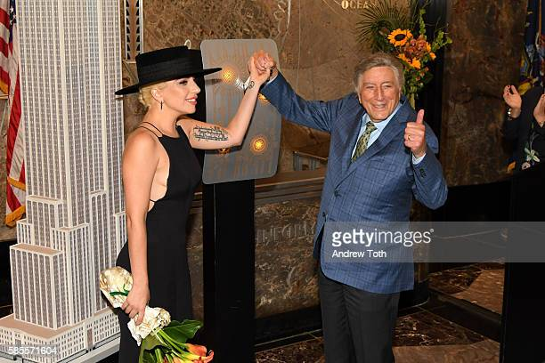 Tony Bennett and Lady Gaga light the Empire State Building in honor of Bennett's 90th birthday at The Empire State Building on August 3 2016 in New...