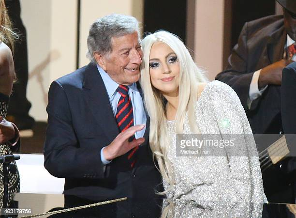 Tony Bennett and Lady Gaga onstage during the Stevie Wonder Songs In The Key Of Life An AllStar GRAMMY Salute held at Nokia Theatre LA Live on...