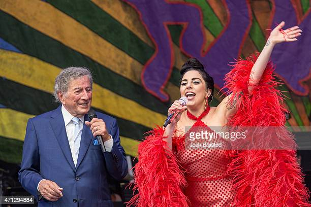 Tony Bennett and Lady Gaga perform at the New Orleans Jazz Heritage Festival at the Fair Grounds Race Course on April 26 2015 in New Orleans Louisiana
