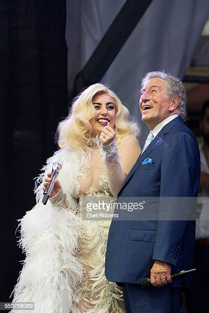 Tony Bennett and Lady Gaga perform during the 2015 New Orleans Jazz and Heritage Festival at the Fairgrounds Race Track in New Orleans Louisiana on...