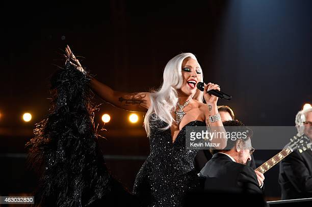 Tony Bennett and Lady Gaga perform onstage during The 57th Annual GRAMMY Awards at the STAPLES Center on February 8 2015 in Los Angeles California