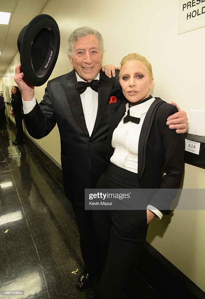 Tony Bennett and Lady Gaga pose backstage during 'Sinatra 100: An All-Star GRAMMY Concert' celebrating the late Frank Sinatra's 100th birthday at the Encore Theater at Wynn Las Vegas on December 2, 2015 in Las Vegas, Nevada. The show will air on CBS on December 6.