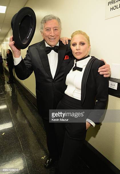 Tony Bennett and Lady Gaga pose backstage during Sinatra 100 An AllStar GRAMMY Concert celebrating the late Frank Sinatra's 100th birthday at the...