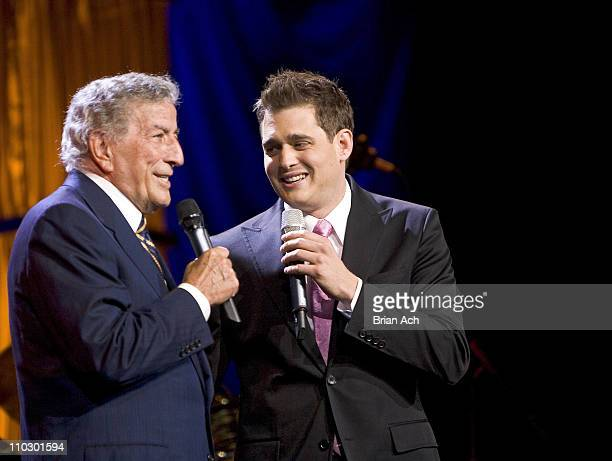 Tony Bennett and Michael Buble during 1067 Lite FM Presents 'One Night With Lite Featuring Tony Bennett' at Theater At Madison Square Garden in New...