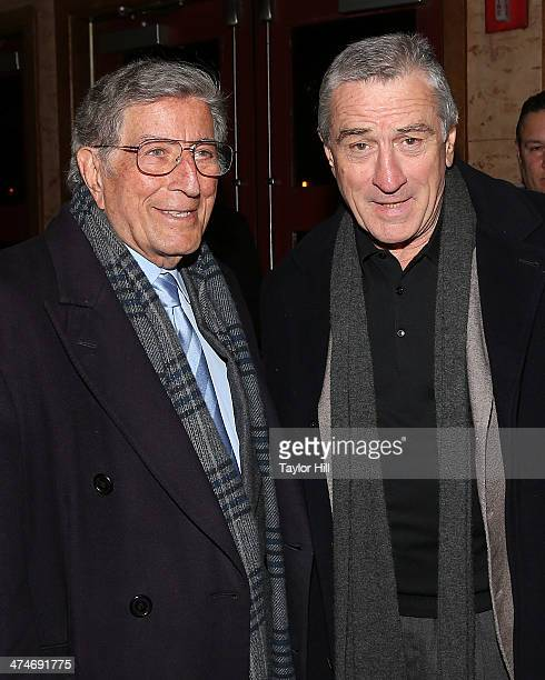 """Tony Bennett and Robert De Niro attend the Tribeca Film Istitute's 20th Anniversary Benefit screening of """"A Bronx Tale"""" at Village East Cinema on..."""