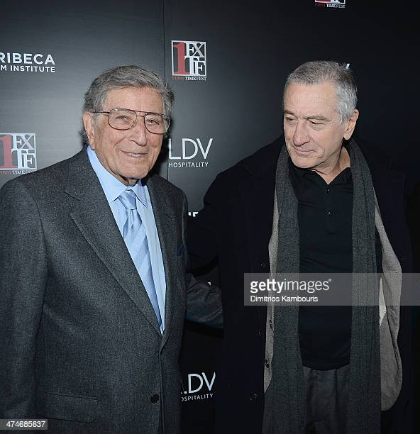 Tony Bennett and Robert De Niro attend Tribeca Film Istitute's 20th Anniversary Benefit Screening Of 'A Bronx Tale' at Village East Cinema on...