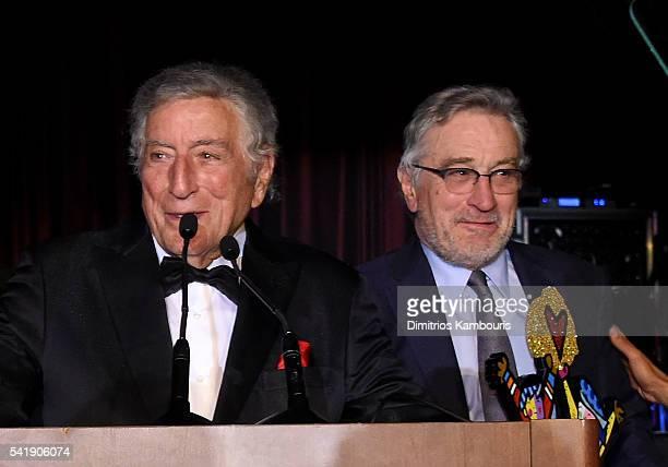 Tony Bennett and Robert De Niro speak as the Friars Club Honors Tony Bennett With The Entertainment Icon Award Inside at New York Sheraton Hotel...