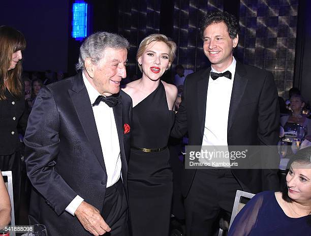 Tony Bennett and Scarlett Johansson attend as the Friars Club Honors Tony Bennett With The Entertainment Icon Award Inside at New York Sheraton Hotel...