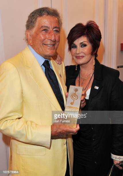 Tony Bennett and Sharon Osbourne attend the 35th Nordoff Robbins 02 Silver Clef Awards at London Hilton on July 2 2010 in London England