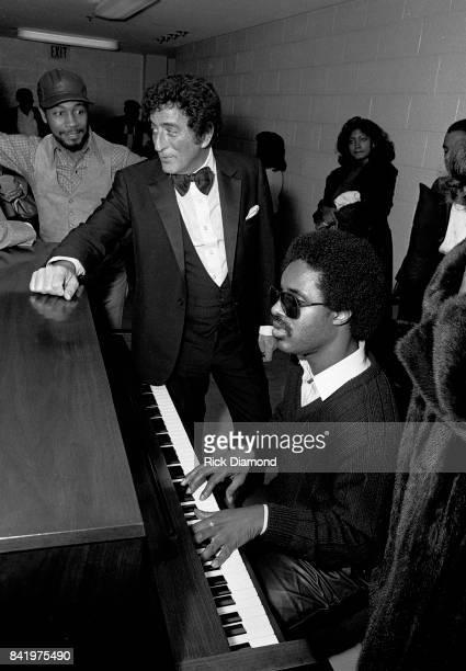 Tony Bennett and Stevie Wonder backstage during MLK Gala at The Atlanta Civic Center in Atlanta Georgia. January 13, 1982