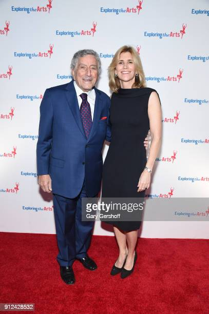 Tony Bennett and Susan Benedetto attend the 11th Annual Exploring The Arts Gala 2018 at The Ziegfeld Ballroom on January 30 2018 in New York City