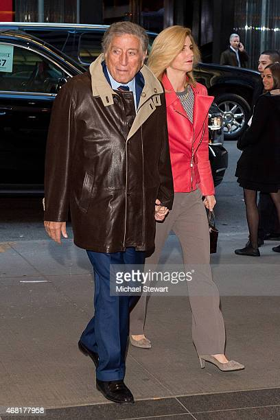 Tony Bennett and Susan Bennett attend the Woman In Gold New York Premiere at The Museum of Modern Art on March 30 2015 in New York City