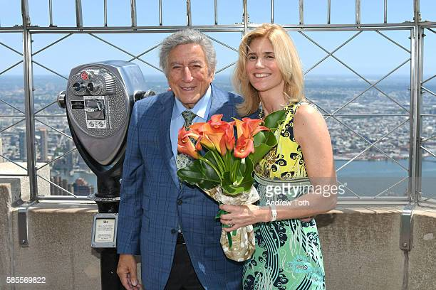 Tony Bennett and Susan Crow light the Empire State Building in honor of Bennett's 90th birthday at The Empire State Building on August 3 2016 in New...