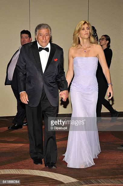 Tony Bennett and wife Susan Benedetto attend as the Friars Club honors him with the Entertainment Icon award at the New York Sheraton Hotel Tower on...