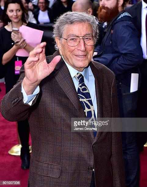 Tony Bennett arrives to Billboard's 10th Annual Women In Music at Cipriani 42nd Street on December 11, 2015 in New York City.