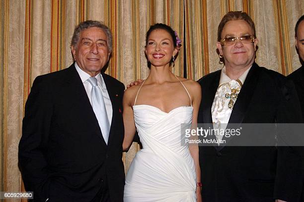 Tony Bennett Ashley Judd and Sir Elton John attend The Breast Cancer Research Foundation Presents 'The Very Hot Pink Party' at The Waldorf Astoria on...