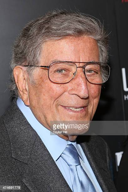 """Tony Bennett attends the Tribeca Film Istitute's 20th Anniversary Benefit screening of """"A Bronx Tale"""" at Village East Cinema on February 24, 2014 in..."""