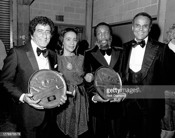 Tony Bennett, Coretta Scott King, Dick Gregory and Harry Belafonte backstage during M.L.K Gala at The Atlanta Civic Center in Atlanta Georgia,...