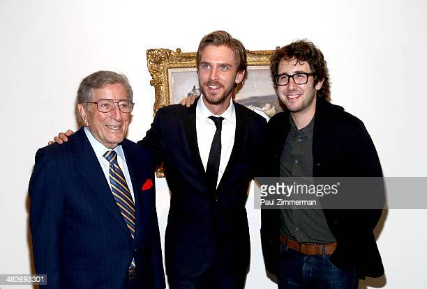 Tony Bennett Dan Stevens and Josh Groban attend the 'Summer In February' premiere at Sotheby's on January 14 2014 in New York City