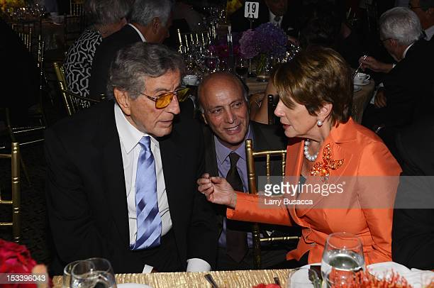 Tony Bennett Danny Bennett and Nancy Pelosi attend the 6Th Annual Exploring the Arts Gala hosted by Tony Bennett And Susan Benedetto at Cipriani 42nd...