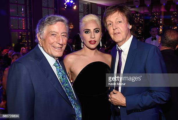 Tony Bennett Lady Gaga and Paul McCartney celebrate music legend Tony Bennett's 90th birthday at The Rainbow Room on August 3 2016 in New York City