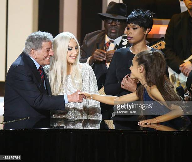 Tony Bennett Lady Gaga Jennifer Hudson and Ariana Grande onstage during the Stevie Wonder Songs In The Key Of Life An AllStar GRAMMY Salute held at...