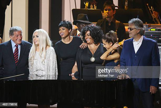 Tony Bennett Lady Gaga Jennifer Hudson Jill Scott Ariana Grande and Andrea Bocelli onstage during the Stevie Wonder Songs In The Key Of Life An...