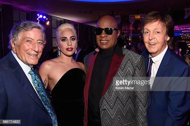 Tony Bennett Lady Gaga Stevie Wonder and Paul McCartney celebrate music legend Tony Bennett's 90th birthday at The Rainbow Room on August 3 2016 in...