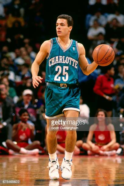 Tony Bennett of the Charlotte Hornets dribbles against the Atlanta Hawks during a game played circa 1994 at the Omni in Atlanta Georgia NOTE TO USER...